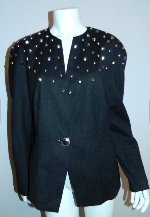 vintage 1980s charcoal gray wool blazer Mondi ESCADA studded jacket S - M