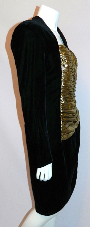vintage 1980s Vicky Tiel dress black velvet cocktail dress gold bustier S