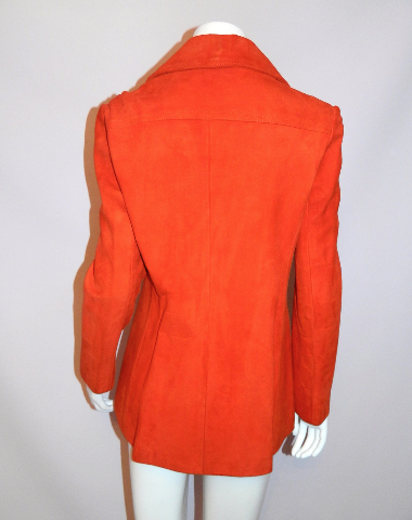 vintage 1970s suede jacket 70s orange DOESKIN riding blazer XS S