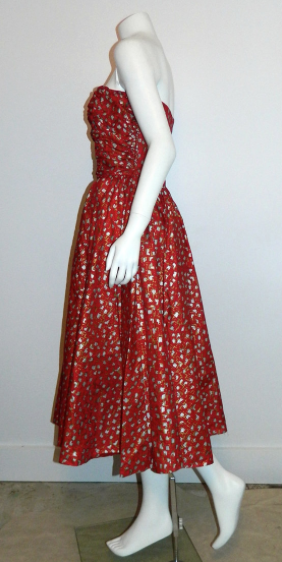vintage 1950s Fred Perlberg strapless dress red ATOMIC party frock XS - S Dance Originals