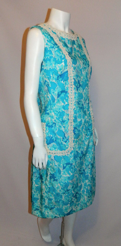 vintage Lilly Pulitzer sun dress aqua blue floral print shift M L