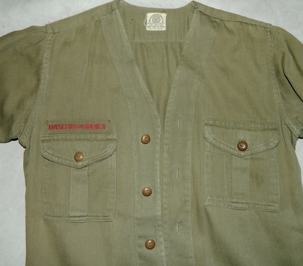 vintage 1930s Boy Scouts shirt BSA uniform button front OD 36 inch chest / unisex XS