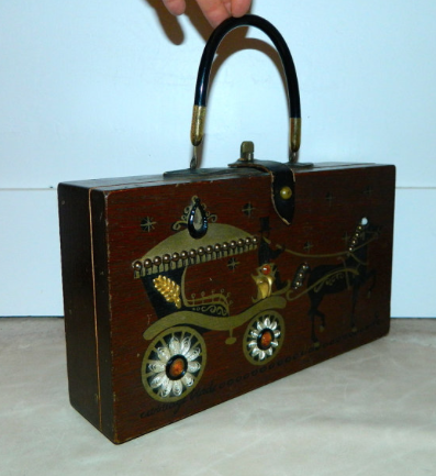 vintage 1960s Enid Collins wooden purse Carriage Trade handbag jeweled box bag