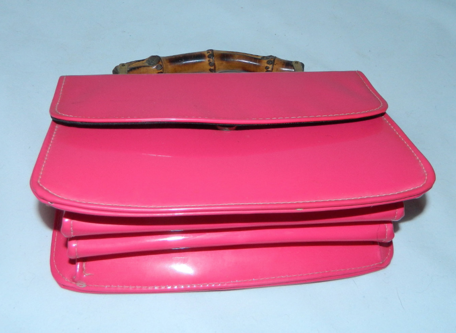 vintage 1960s hot pink patent leather purse Bamboo handle handbag