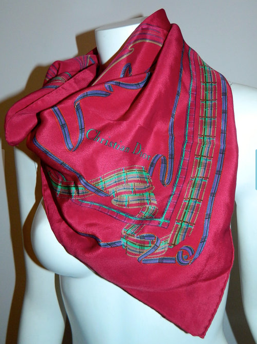 vintage 1980s silk scarf Christian Dior magenta ribbon print square scarf