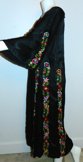 1940s vintage black EMBROIDERED caftan rayon satin gown OS