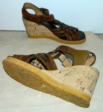 vintage 1970s cork wedges sandals brown WOVEN leather 7 - 7.5 Pietros