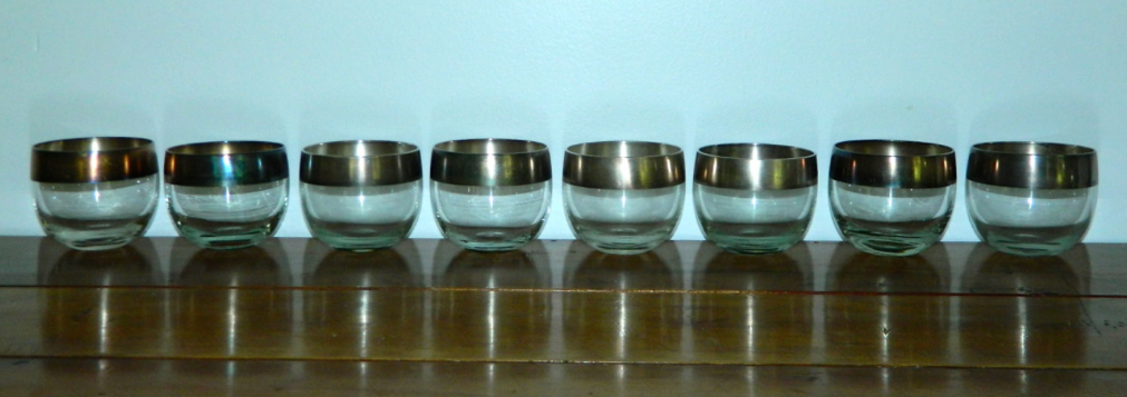 vintage 1960s glasses Dorothy Thorpe silver band ROLY POLY tumblers set of 8