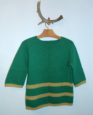 vintage 1940s wool sweater jade green yellow stripes XS - S