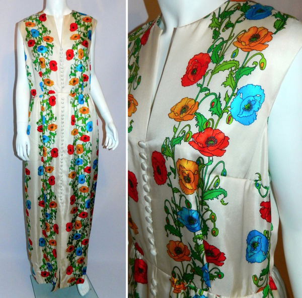 vintage silk gown 1970s Kaplan white floral maxi dress M Boho luxe wedding