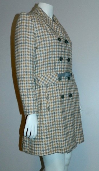 vintage 1960s plaid peacoat MOD wool coat gray camel Houndstooth S - M