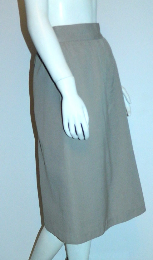 vintage 1980s skirt dove gray CACHAREL wool gabardine midi skirt XS - S