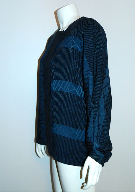 vintage 1980s Christian Dior silk blouse blue black ABSTRACT print top M