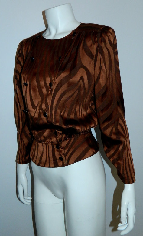 vintage 1980s tiger stripe shirt copper Louis Feraud silk blouse peplum top XS / S
