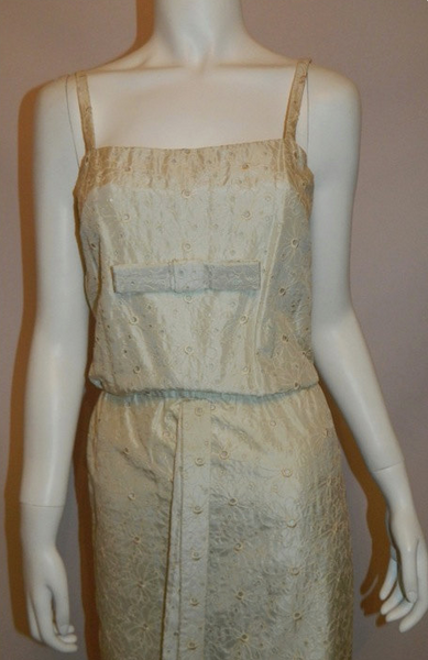 vintage 1960s silk wedding gown 60s ivory eyelet column dress XS