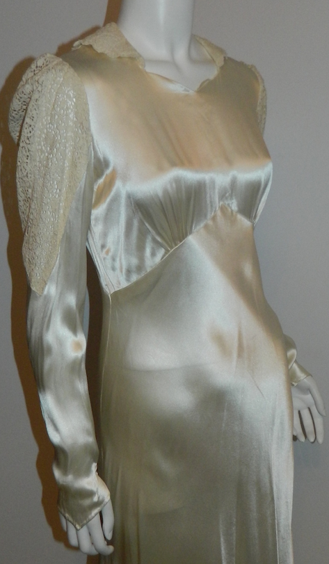 Art Deco silk satin wedding gown 1930s bias cut ivory button back ...
