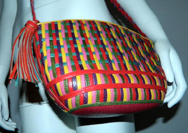 BOLD vintage 1980s SHARIF bag woven leather lizard karung purse