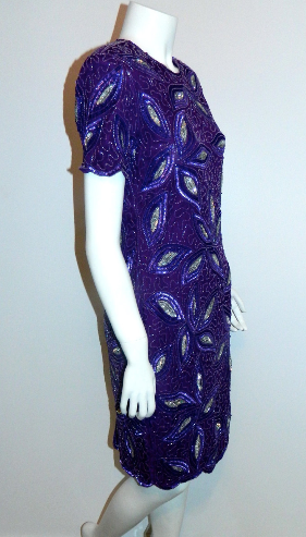 vintage beaded dress 1980s purple silk cocktail dress XS
