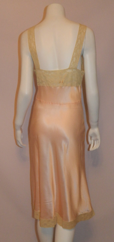 vintage bias cut nightgown 1950s pink Fischer slip gown rayon satin lace 36