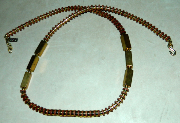 vintage 1980s necklace Yves Saint Laurent brass wood geometric YSL jewelry