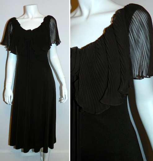 vintage 1970s brown dress Miss Elliette pleated capelet Disco gown XS - S