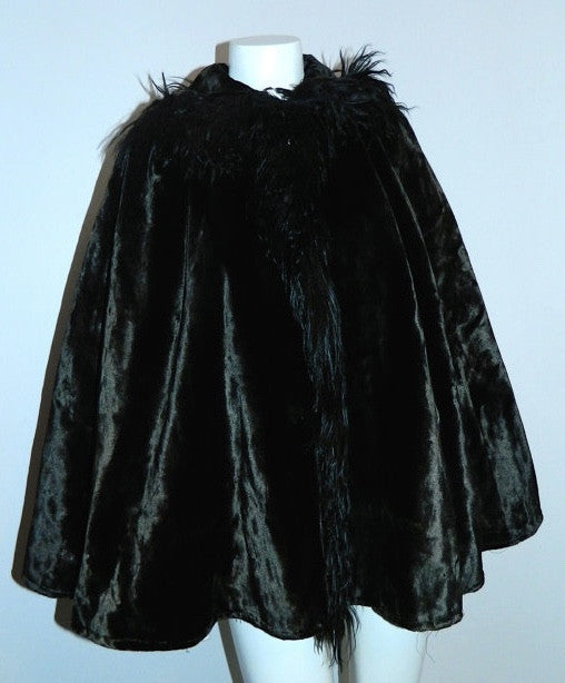 antique velvet cape Victorian capelet black 1800s monkey fur trim