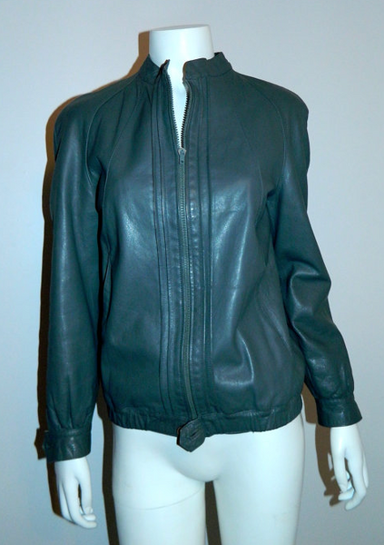 vintage 1980s gray leather jacket Peruzzi Italy moto chic XS S