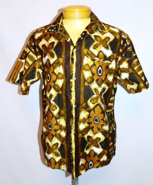 vintage 1950s Hawaiian shirt brown TIKI Tropicana shirt Mens L XL