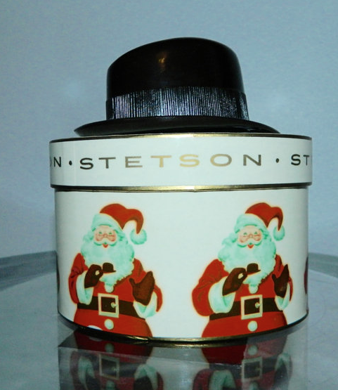 vintage 1950s STETSON hat in box - plastic display Christmas Santa Claus box