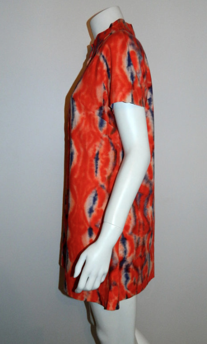 vintage 1960s MOD mini dress red Tie Dye scooter tunic dress XS