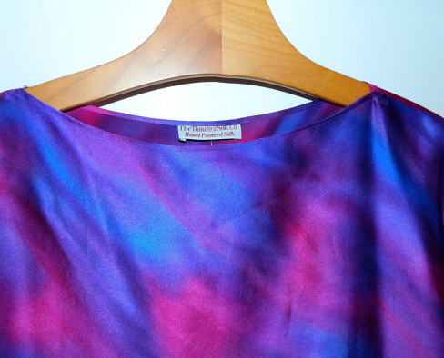vintage 1980s purple silk satin tunic mini dress Hand Painted shirt S - M