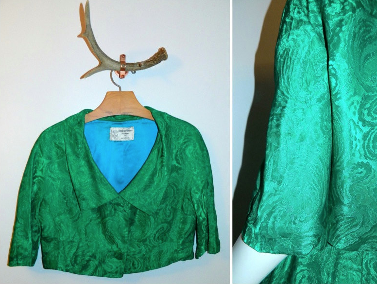 vintage 1950s emerald green wiggle dress Lee Claire Brocade suit bolero jacket M - L