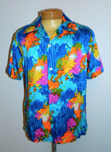 vintage 1960s shirt HRH rayon floral watercolor Hawaiian shirt Mens L XL