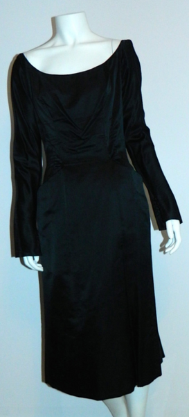 vintage 1950s Ceil Chapman cocktail dress silk satin ballet neck XS - S