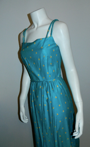 vintage 1970s sun dress / MALIA apple print maxi gown / seafoam yellow XS - S