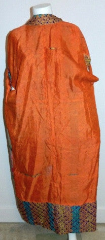 antique silk KIMONO robe orange Shibori ombre stripe Japanese long jacket
