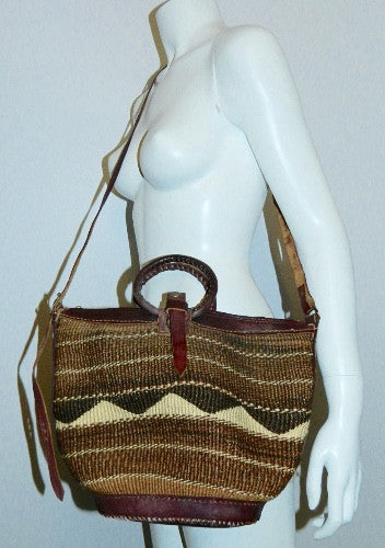 vintage 1970s woven seagrass bag / Kilim weave basket / oversized leather tote shoulder purse