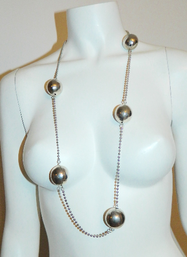 vintage 1960s MOD necklace / chrome spheres ball chain / long geometric modernist necklace