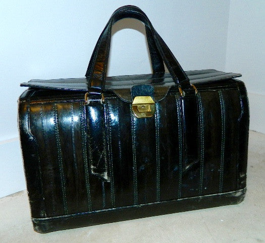 vintage 1970s black EEL SKIN bag valise suitcase carry on luggage