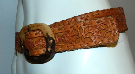 vintage 1970s belt brown TOOLED leather wood buckle Hand Made Mexico 30 31 32 34