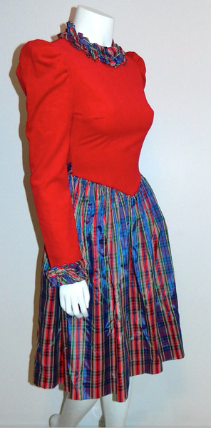 vintage 1970s Yves Saint Laurent dress red velvet bodice / plaid taffeta full skirt