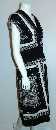 vintage 1960s dress MOD black white frame Nancy Greer OP print midi dress M