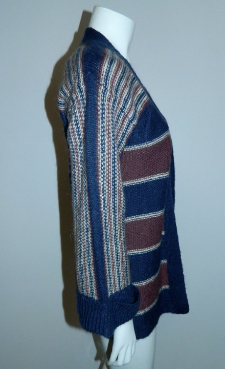 vintage 1970s cardigan sweater / blue striped wool knit HIPPIE bell sleeves S - M