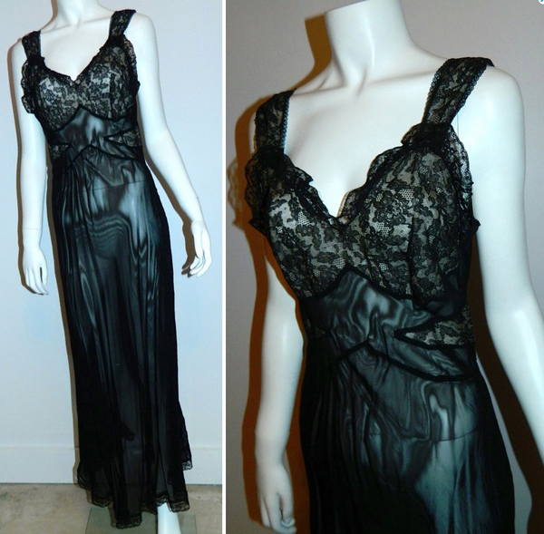 vintage 1930s black Mondaine lace slip Art Deco bias cut gown 32 / XS