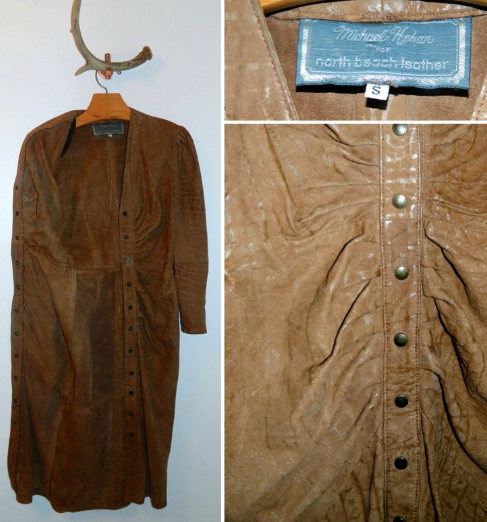 vintage 1980s brown leather dress / North Beach Leather Michael Hoban XS S