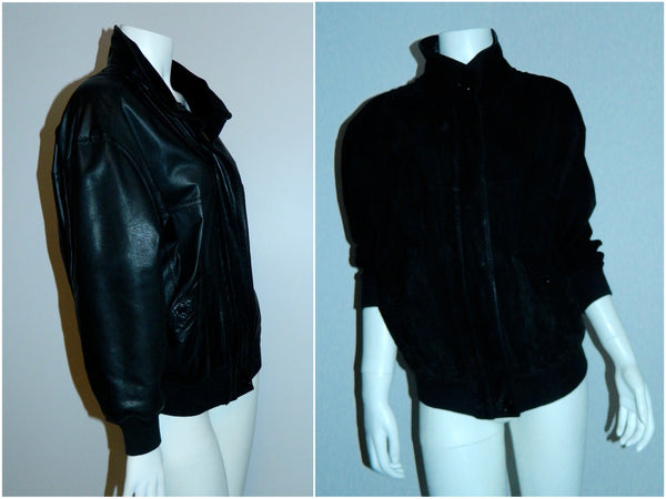vintage black BALLY leather bomber jacket / lamb leather reversible nubuck suede EU 4