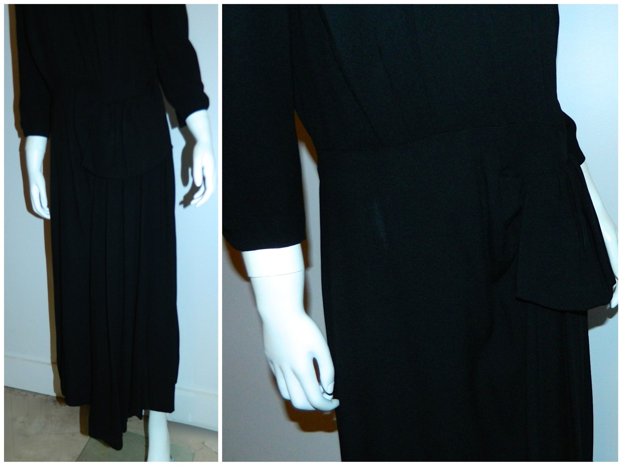 vintage 1930s black crepe dress / Art Deco beaded neckline / rayon crepe cocktail dress M - L