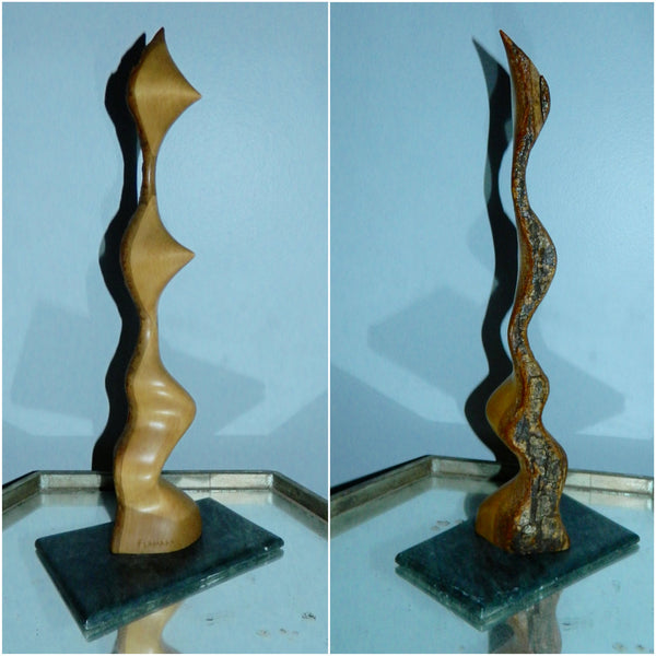 abstract moderne Alain Flamand maple wood sculpture stone base vintage wood carving Quebec artist