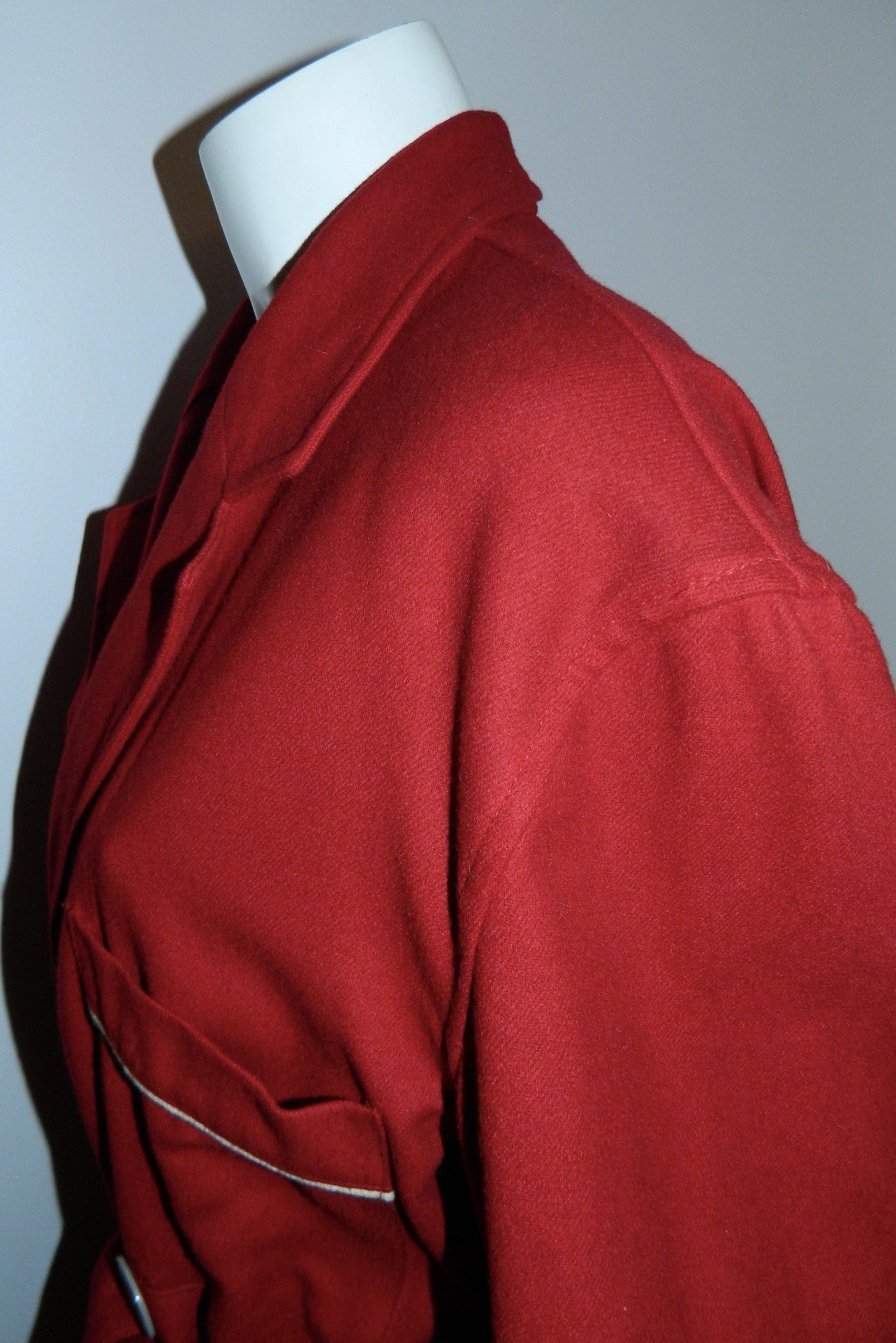 vintage 1940s wool robe State O Maine cranberry button front pea coat M