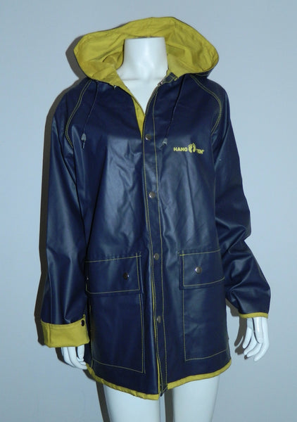 vintage 1980s HANG TEN rain jacket PVC slicker 80s hooded coat Adult S